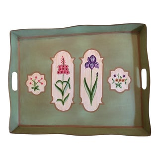 Scalloped Pale Green Metal Tole Painted Botanical Tray For Sale
