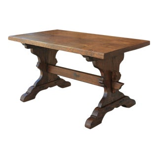 Antique French Farmhouse Desk/Trestle Dining Table For Sale