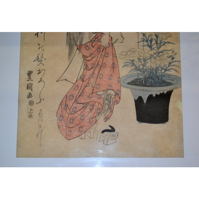 Early 19th Century Utagawa Toyokuni II Geisha Japanese Gilt Framed Woodblock Print on Parchment Paper For Sale - Image 5 of 13