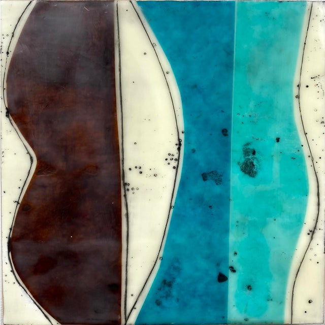 """Wood """"Bodies in Motion"""" Encaustic Collage by Gina Cochran - 16 Piece Installation For Sale - Image 7 of 13"""
