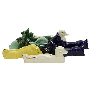 Art Deco Majolica Animal Knife Rests - Set of 8 For Sale