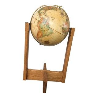 1970s Mid Century Modern Globe on Stand For Sale