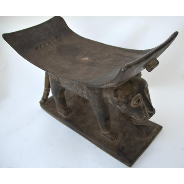 Metal African Ashanti Leopard Stool For Sale - Image 7 of 10