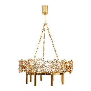 Large Gilt Brass and Glass Chandelier Lamp, Palwa circa 1960 For Sale