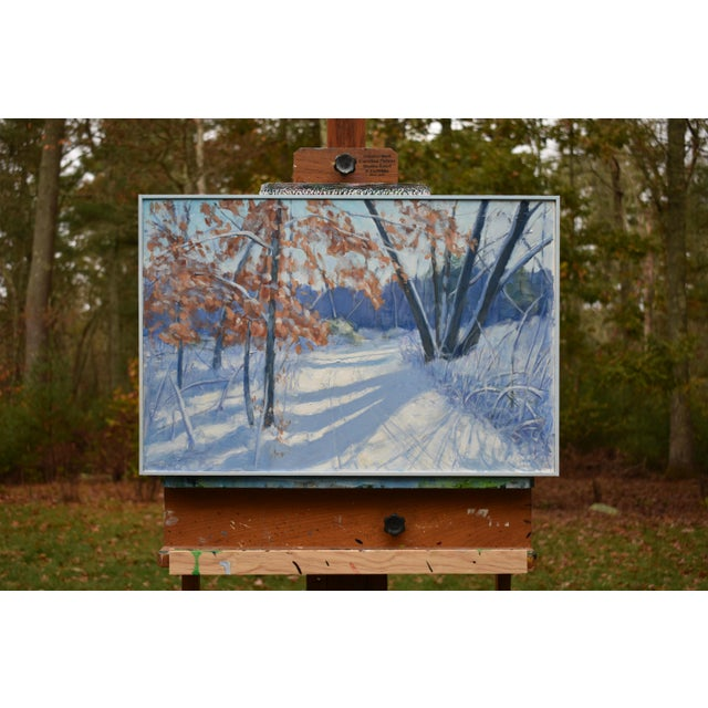 """""""Snowy Path by the Beech Tree"""" Contemporary Acrylic Painting by Stephen Remick, Framed For Sale - Image 11 of 11"""
