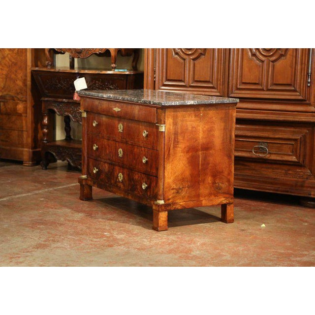 Empire Furniture 19th Century French Empire Walnut Four-Drawer Commode With Black & White Marble For Sale - Image 4 of 8