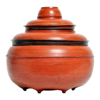 Burmese Red Lacquer Offering Urn For Sale