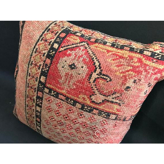 American 1960s Americana Handwoven Oushak Orange Pillow Case For Sale - Image 3 of 9