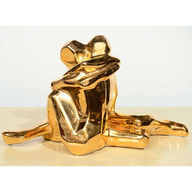 Mid-Century Modern 24-Karat Gold Plated Ceramic Cubist Sculpture by Jaru For Sale In New York - Image 6 of 10