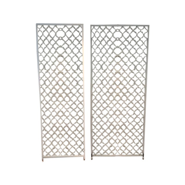 Mid-Century Metal Wall Divider Screens - A Pair For Sale