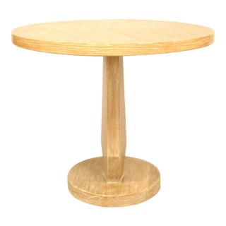 American Limewood Round End Table For Sale