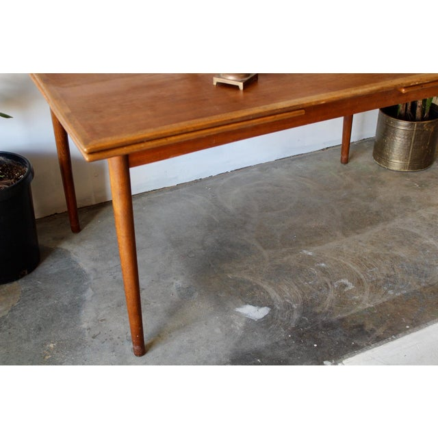 Tan 1960's Mid Century Modern Teak Extending Dining Table For Sale - Image 8 of 11