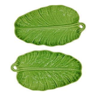 Green Majolica Banana Leaf Platters - a Pair For Sale
