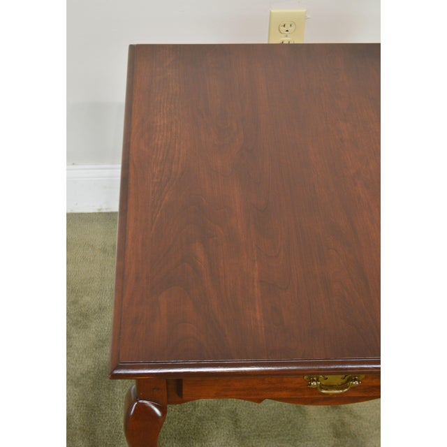 Hitchcock Old Litchfield Solid Cherry Pair Queen Anne One Drawer Side Tables For Sale - Image 9 of 13