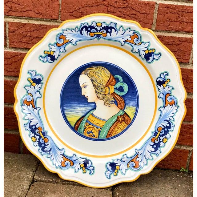 Blue Deruta Italian Renaissance Woman Ceramic Serving Plate For Sale - Image 8 of 8
