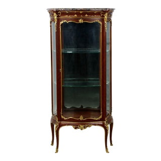 1880s Antique French Louis XV Style Ormolu Mounted Kingwood Vitrine Cabinet For Sale