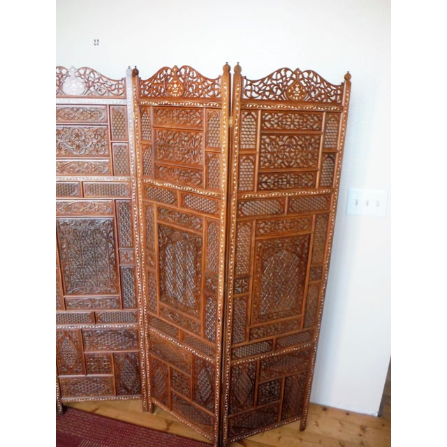 Carved & Inlayed Rosewood Screen For Sale - Image 10 of 11