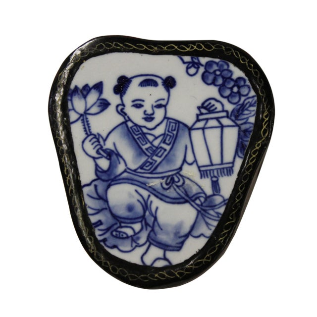 Blue & White Baby Figure Porcelain Jewelry Box For Sale
