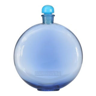 French Art Deco Disc-Shaped Blue-Tinted Glass Perfume Bottle For Sale