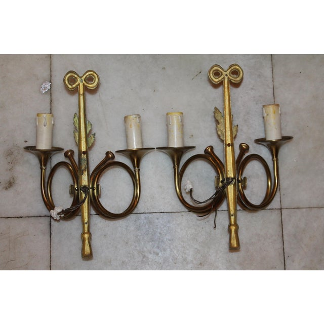 """1950s Maison Bagues """"Curled Horns"""" Dore Bronze Sconces - a Pair For Sale - Image 12 of 13"""