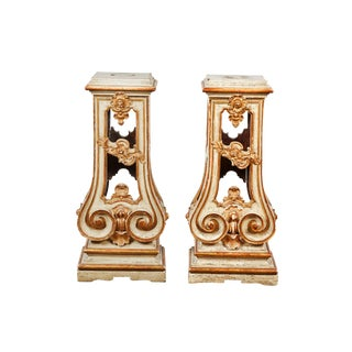 Pair of 18th Century Italian Rococo Cream Painted and Parcel Gilt-Pedestal For Sale
