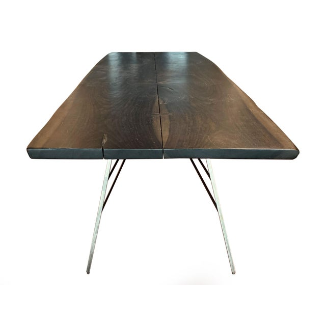 Industrial Industrial Viento Ray Dark Steel and Reclaimed Wood Dining Table For Sale - Image 3 of 13