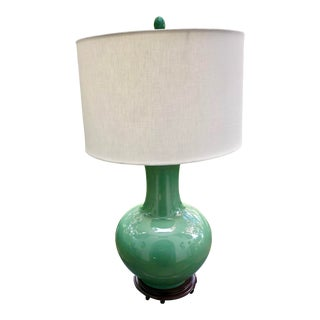 Large Scale Chinoiserie Celadon Porcelain Gourd Lamp For Sale