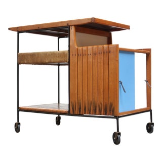 Arthur Umanoff Maple and Wrought Iron Bar Cart For Sale