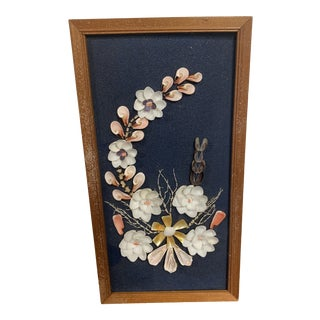 Mid-Century Modern Sea Shell Floral Design Framed Wall Art For Sale