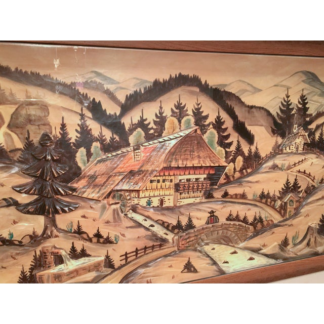 3-Piece Painted Wood Relief Mountain Diorama - Image 5 of 8