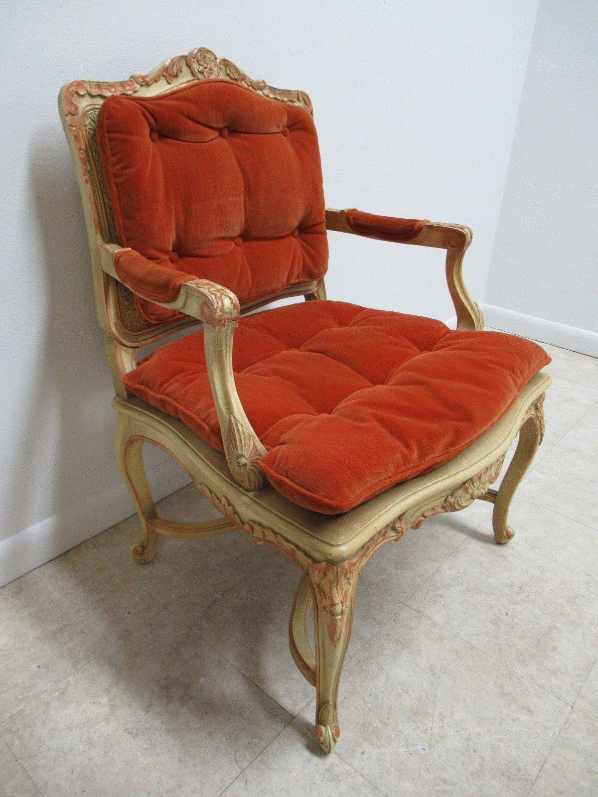 A Vintage French Regency Paint Decorated Cane Armchair. Measurements ( L X  W X H