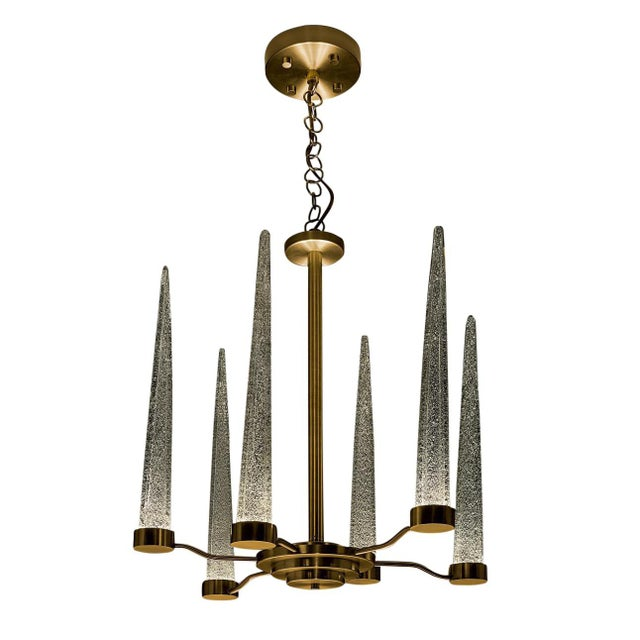 Not Yet Made - Made To Order English Brass Icicle Ceiling Light For Sale - Image 5 of 5