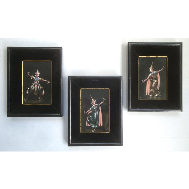 Thailand or Bali Dancer Silk Paintings, Set of 3 For Sale - Image 10 of 10