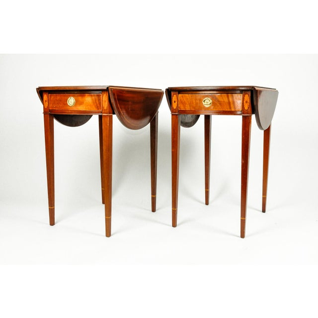Antique Cherry and Satinwood Banded Pembroke Side Tables - a Pair For Sale - Image 12 of 13