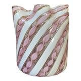 Image of Fratelli Toso Murano Glass Zanfirico Pink Ribbon Handkerchief Vase For Sale