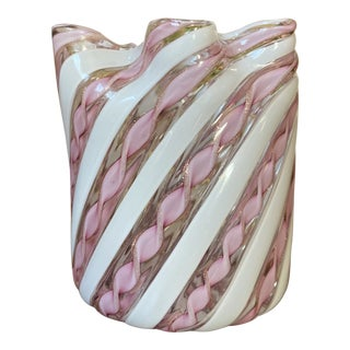 Fratelli Toso Murano Glass Zanfirico Pink Ribbon Handkerchief Vase For Sale