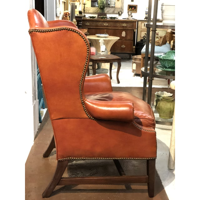 Vintage Georgian Style Orange Leather Arm Chair With Brass Tacks & Stretcher For Sale - Image 4 of 13