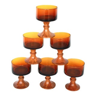 1970s Amber Glass Coupes on Turned Olive Wood Stems - Set of 6 For Sale