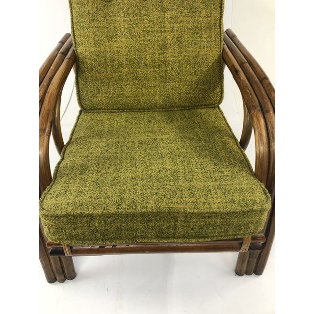 Mid Century Boho Chic Bamboo Lounge Chair With Green Upholstery For Sale - Image 11 of 13