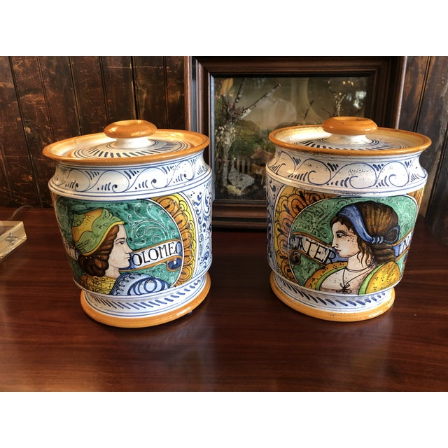 Provencal Ceramic Painted Lidded Apothecary Jars -A Pair For Sale - Image 13 of 13
