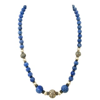 20th Century Sterling Silver 925 Silver & Lapis Lazuli Bead Necklace For Sale