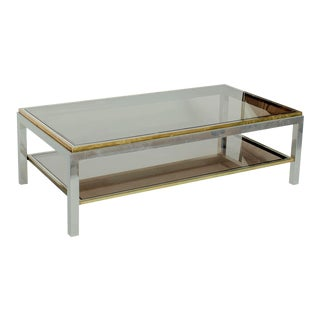 1970s Italian Chrome Brass Coffee Table With Smoked Glass by Willy Rizzo For Sale