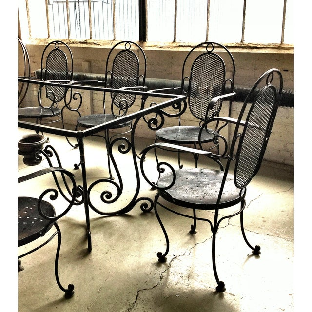 1900s Art Nouveau Indoor and Outdoor Iron Dining Set - 9 Pieces For Sale - Image 4 of 11