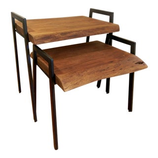 Industrial Modern Acacia Wood and Iron Nesting Tables - a Pair