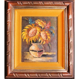 Mid-Century Sunflowers Oil Original Double Hand Carved Frame For Sale