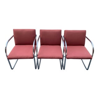 1970s Chrome Cantilever Chairs Attributed to Thonet - Set of 3 For Sale