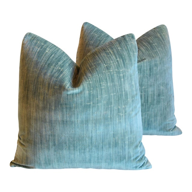 """Clarence House Velvet Fabric Feather/Down Pillows 21"""" Square - Pair For Sale"""