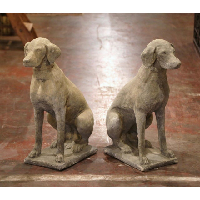 Large French Carved Stone Verdigris Patinated Labrador Dog Sculptures - a Pair For Sale - Image 9 of 9