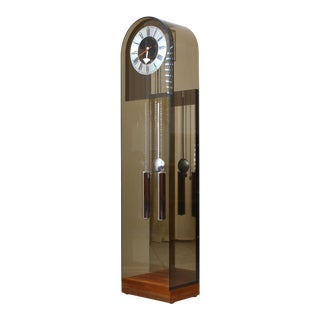 1970s Howard Miller Smoked Lucite and Walnut Grandfather Clock For Sale