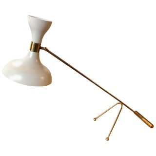 Mid-Century Stilnovo Adjustable White Table Lamp in Brass, Italy, 1960s For Sale